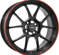 "16"" INTER ACTION PHOENIX - Gloss Black / Red 7x16 - ET40"