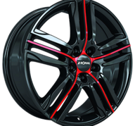 "18"" RONAL R57 - Gloss Black / Red 7,5x18 - ET44"